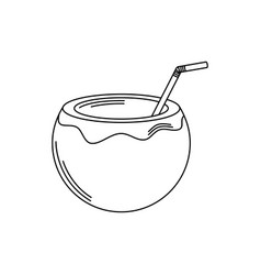 drinks tropical cocktail coconut with straw line vector image