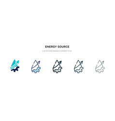 Energy source icon in different style two vector