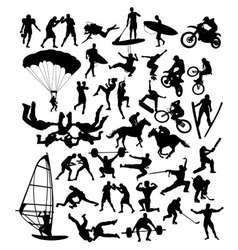 Extreme Sport Set Silhouette vector image
