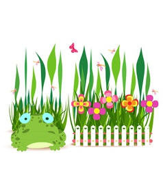 Fence with spring flowers and frog vector
