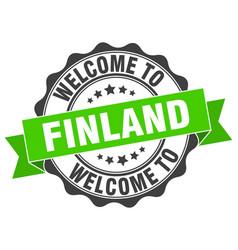 Finland round ribbon seal vector