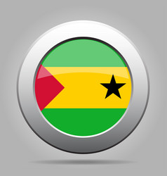 flag of sao tome and principe metal round button vector image