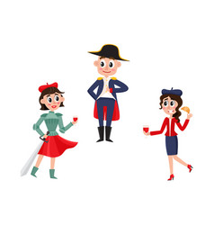 flat french culture fashion people set vector image