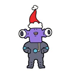 Friendly line drawing of a alien wearing santa hat vector