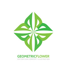 geometric flower - logo template concept vector image