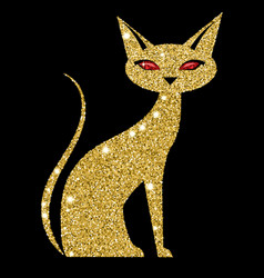 golden cat with ruby eyes vector image