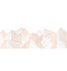 golden mountain landscape wavy lines vector image