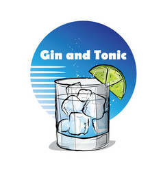 Hand drawn cocktail gin and tonic vector