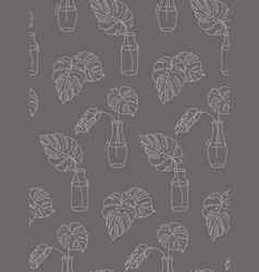 houseplant one line monstera drawing eco nature vector image