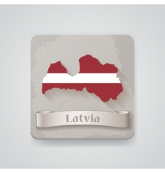 Icon of latvia map with flag vector