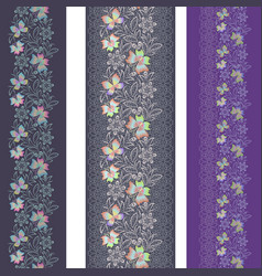 lace butterflies - seamless border set vector image
