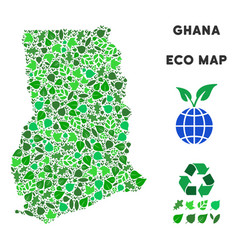 leaf green collage ghana map vector image