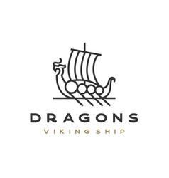 line art viking ship logo design vector image