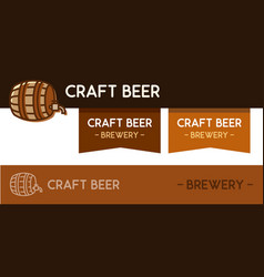 logo for craft beer brewery with wooden barrel vector image
