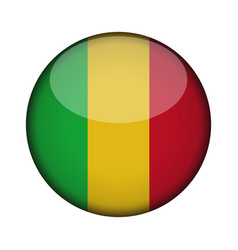 mali flag in glossy round button of icon mali vector image