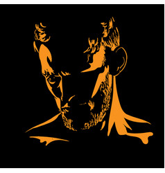 Man portrait silhouette in backlight vector