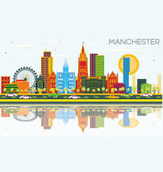 manchester skyline with color buildings blue sky vector image