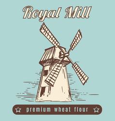 mill vintage poster design vector image