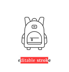 Minimal editable stroke backpack icon vector
