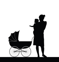 mother holding baby with carriage silhouette vector image