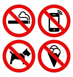 no smoking cell phone dogs and eating vector image