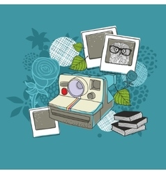 Old camera and floral background vector