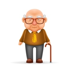 Old Man Grandfather 3d Realistic Cartoon Character vector