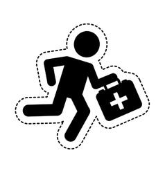 Paramedic running with medical kit vector