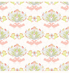pastel folk art birds and flowers vector image