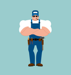 plumber strong fitter serious powerful service vector image