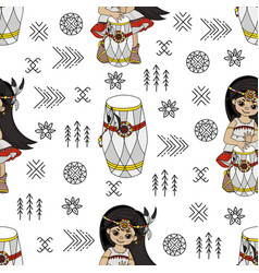 pocahontas rhythm american native culture seamless vector image