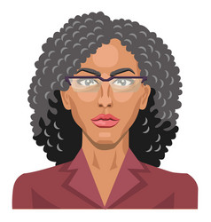 pretty girl with glasses and curly hair on white vector image