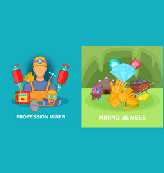 Professional miner banner set cartoon style vector