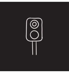Railway traffic light sketch icon vector image