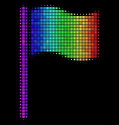 Rainbow pixel waving flag icon vector
