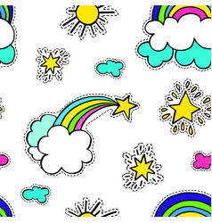 Rainbow with clouds and star sunshine seamless vector