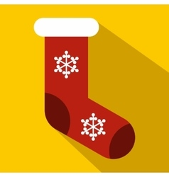 Red Christmas sock icon flat style vector image