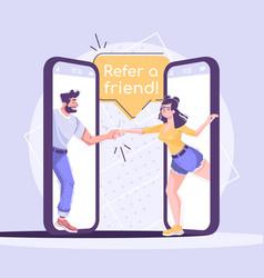 referral marketing social media post mockup vector image