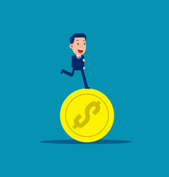 running on coins business financial concept vector image