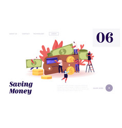 saving money website landing page tiny male and vector image