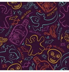 Seamless pattern with color halloween ghost vector
