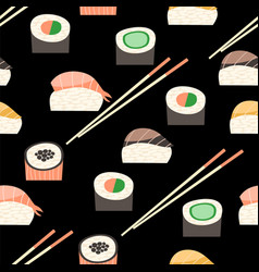 Seamless pattern with different types of sushi vector