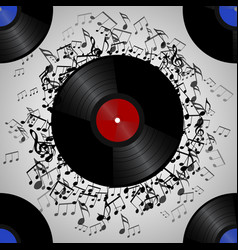 seamless texture with a vinyl record and music vector image
