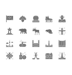 set canadian culture grey icons sports vector image