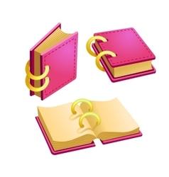 Set of cartoon pink book vector image