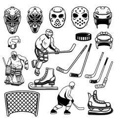 set of hockey design elements players goalkeeper vector image