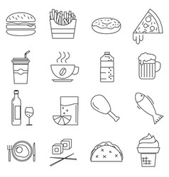 set of icons in line style eating fast food vector image