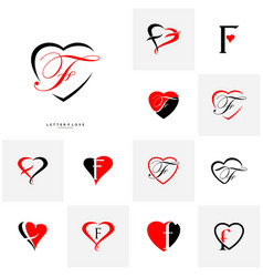 set of letter f heart logo icon design template vector image