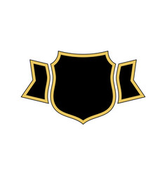 shield black icon gold outline shield golden vector image