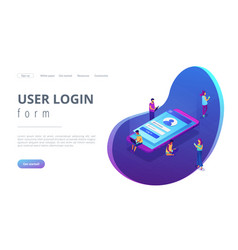sign in page isometric 3d landing page vector image